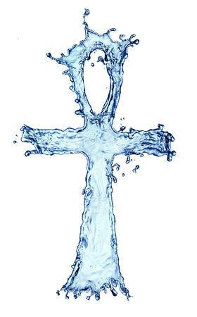 Egyptian cross Ankh made of water splash isolated on the white background photo