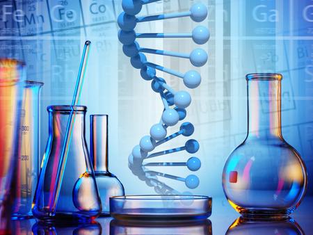 tubo de ensayo: Cristalería de laboratorio sobre fondo de color Foto de archivo