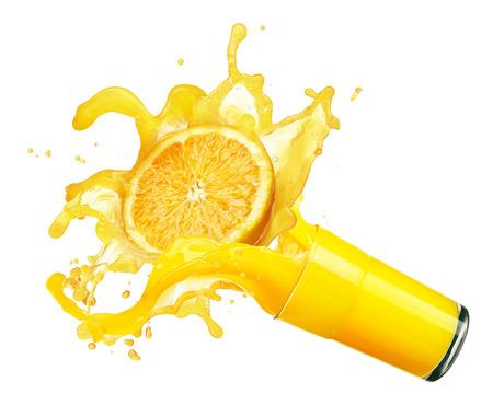 orange splash: orange juice splash isolated on white