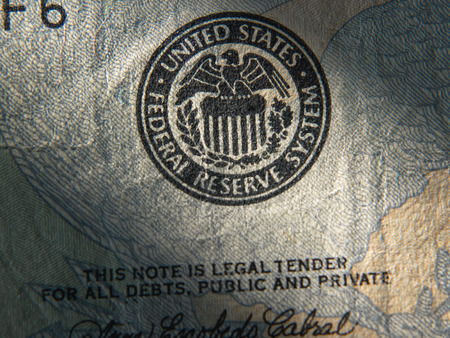 federal reserve: United States Federal Reserve System symbol.Close up