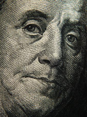 depicted: Benjamin Franklins portrait is depicted on the $ 100 banknotes. Close up