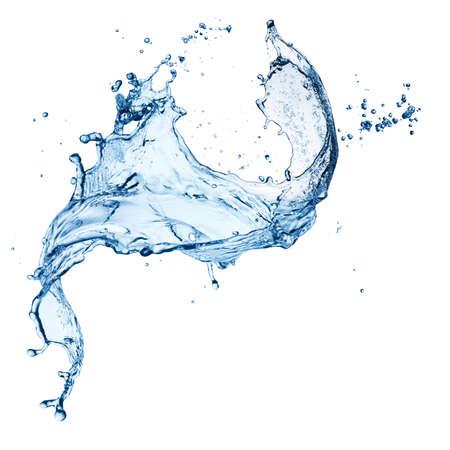 el agua: salpicaduras de agua azul sobre fondo blanco aisladas