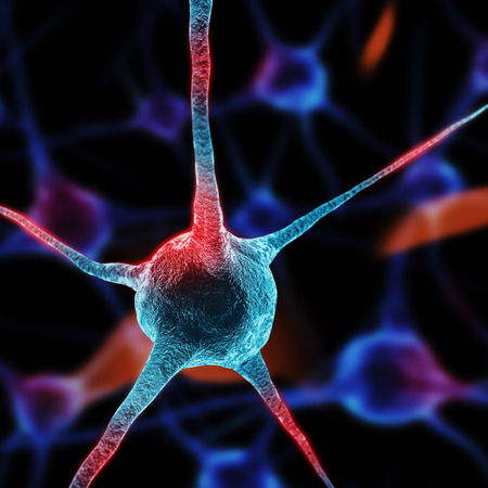 neurone: Realistic rendering of neurone  in red colors Stock Photo
