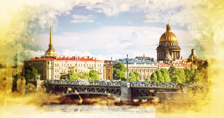 filtered: skyline in St. Petersburg, Russia. Filtered image Stock Photo