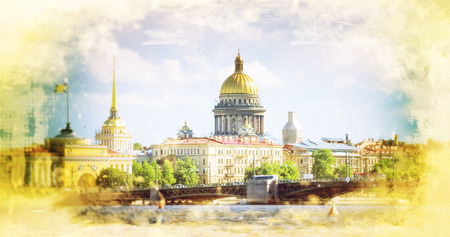 st  petersburg: View on the Neva river and St Isaacs Cathedral in St. Petersburg Russia. Filtered image