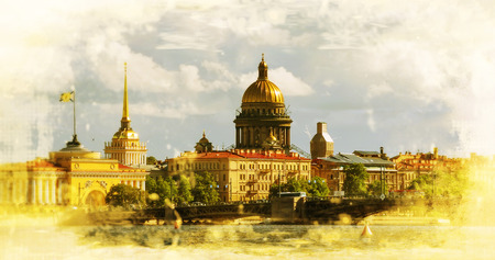 View on the Neva river and St Isaacs Cathedral. St. Petersburg Russia. Filtered image photo