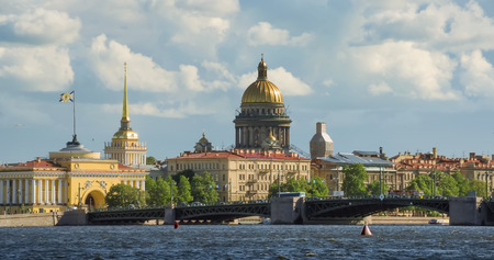 saint petersburg: View on the Neva river and St Isaacs Cathedral in St. Petersburg Russia Stock Photo
