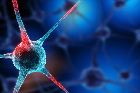 neurone: Realistic rendering of neurone  on the blue background Stock Photo