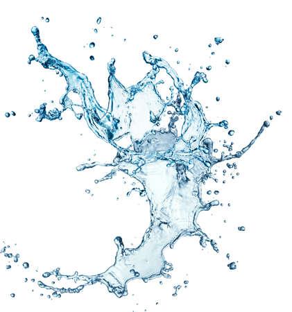 water splash: salpicaduras de agua azul sobre fondo blanco aisladas