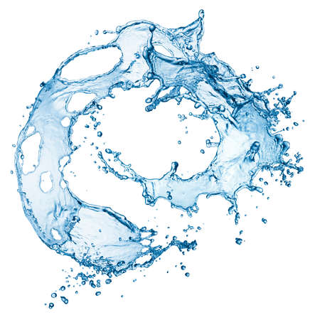 water wave: blue water splash isolated on white background Stock Photo