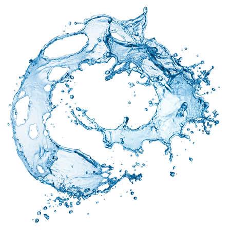fresh water splash: blue water splash isolated on white background Stock Photo