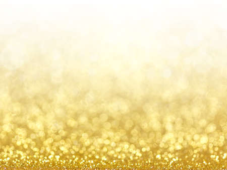blurry: Gold Festive Christmas background. Abstract twinkled bright background with bokeh defocused golden lights