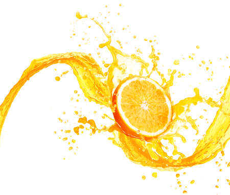 orange color: Orange juice splashing with its fruits isolated on white background
