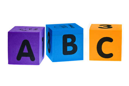 learing: Letters A B C isolated on the white background