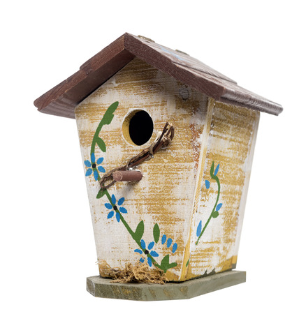 Birdhouse, isolated on white photo