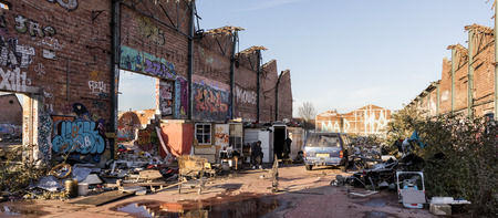 abandoned factory: Abandoned factory with Romani recycling