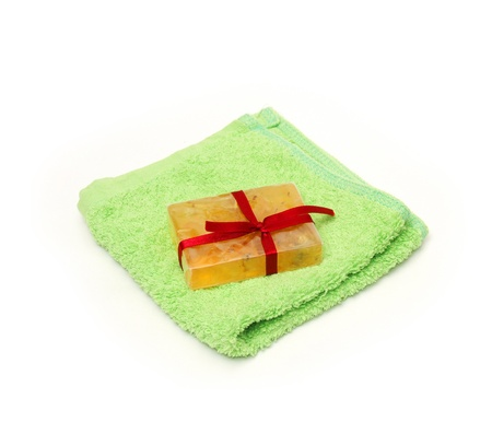Soap on a towel with a bow photo