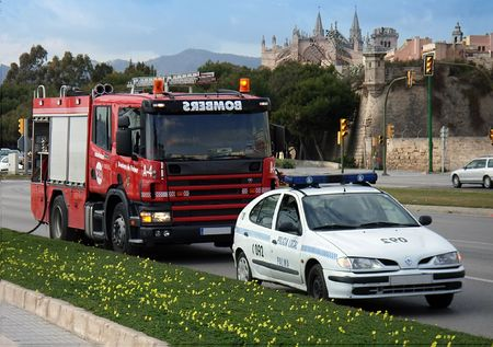 Police and Firemen vehicles in Palma de Mallorca (Balearic Islands - Spain) during an emergency photo