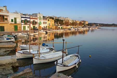colom: Porto Colom typical seaside village in Majorca (Spain) at sunset