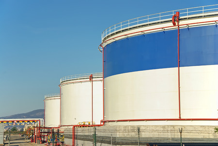 Fuel Storage plant with big tanks used to store oil photo