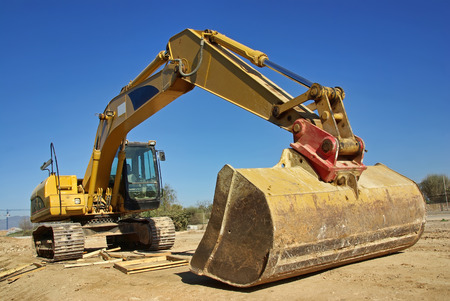 excavator heavy vehicle used in construction industry Stock Photo - 22183516