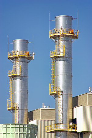 smoke stack: Industrial Towers in a power plant facility