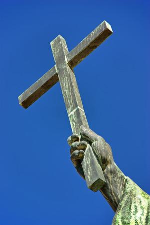 almighty: Christian cross over an sky background