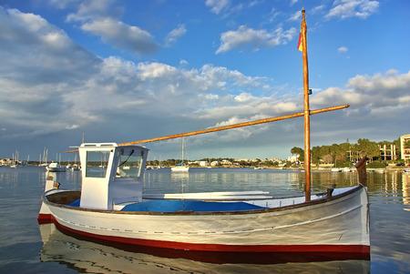 colom: Typical majorquin fishing boat known as  Llaut   Porto Colom  Majorca - Spain