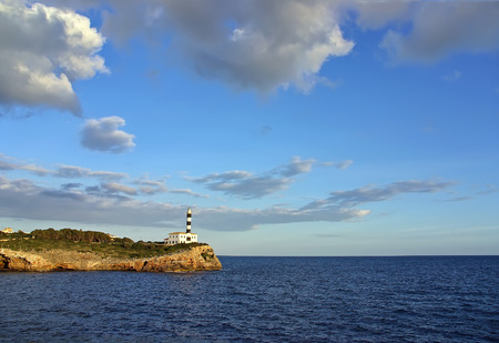 colom: Porto Colom Lighthouse in Majorca  Spain  Stock Photo