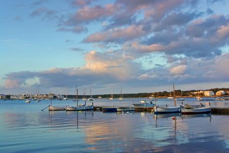 colom: Porto Colom bay at dawn in Majorca  Balearic Islands
