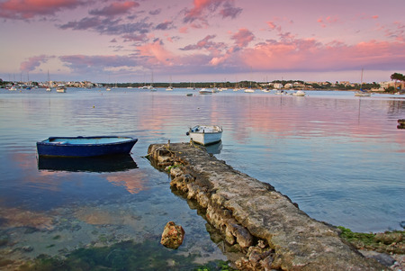 colom: Red sky during the sunset in Porto Colom (Majorca - Spain)