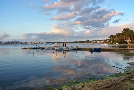 colom: Porto Colom bay at sunset in Majorca (Balearic Islands)