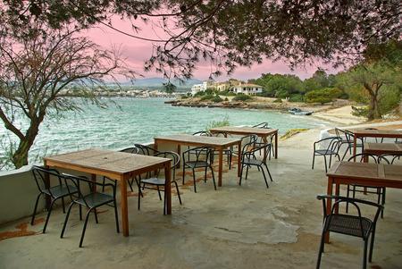colom: Typical terrace of a bar located in the coast of Porto Colom (Mallorca - Spain) Stock Photo