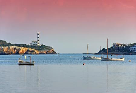 colom: Porto Colom Bay at dawn (Majorca - Spain) Stock Photo