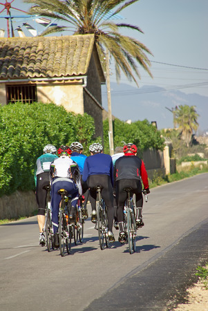 velo: Group of cyclists doing tourism in Majorca