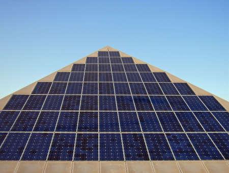 technologic: Pyramid of solar power cells in a technologic park of Majorca (Balearic Islands)