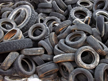 stockpiling: A lot of dumped tires in a landfill