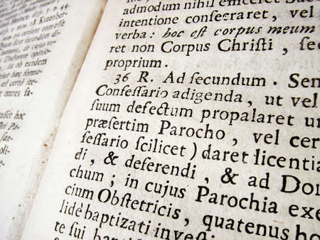 theological: Ancient latin text in a theological book