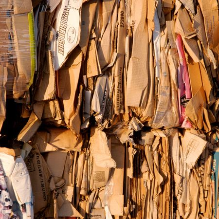 pile reuse: Boxes ready to be recycled Stock Photo