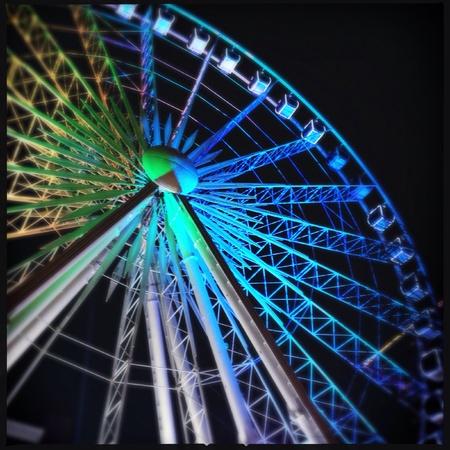 bright: Ferris wheel at night in downtown Atlanta, Georgia USA