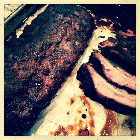 back: Close up image of barbecue smoked ribs