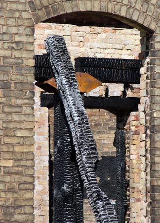 burned out: Charred beams in a burned out century old factory