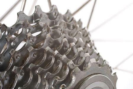 torque: A worn nine speed bicycle chain gear cassette
