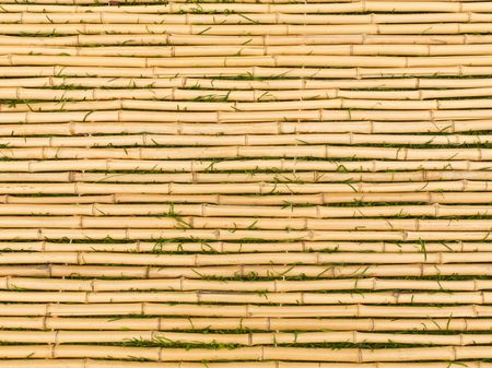 bamboo mat: Bamboo tied together to form a mat with blades of grass between each horizontal stick