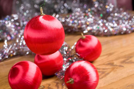 bedeck: Red Christmas ornaments with multicolored glitter