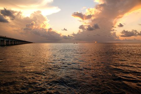 mile: Magnificent Key West ocean view Sunset near seven mile bridge Stock Photo