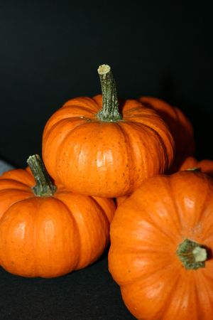 Holiday pumpkins sitting together. photo