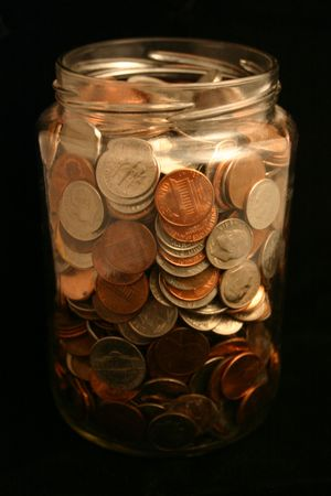 accrue: A jar of loose change.