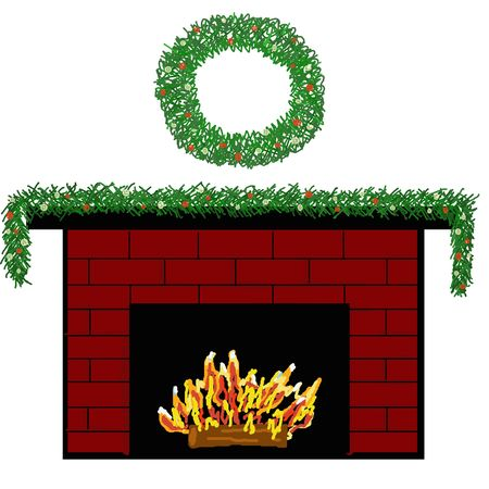 mantle: A red brick fireplace decorated with a garland and wreath.