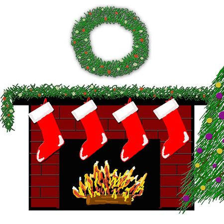 A red brick fireplace decorated with stockings, garland and wreath with a cozy fire beneath. photo